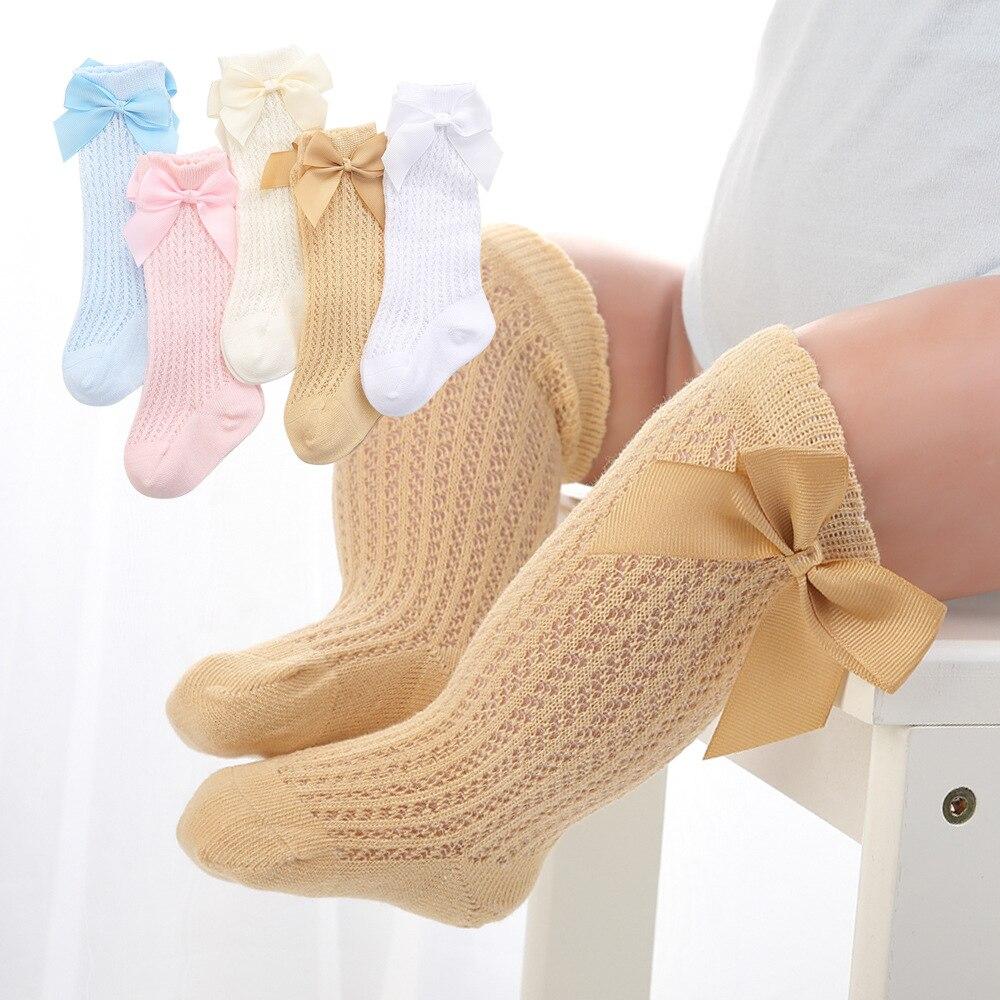 2021 Summer New Baby Girls Socks Toddler Kids Bow Cotton Mesh Breathable Sock Newborn Knee High Infant Girl Socks 0-3 years 1