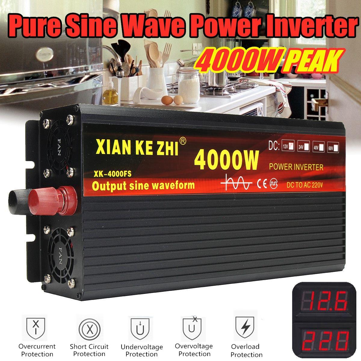 Onduleur 12V 220V 2000/3000/4000W transformateur de tension onduleur à onde sinusoïdale Pure DC12V à convertisseur ca 220V + affichage 2 LED