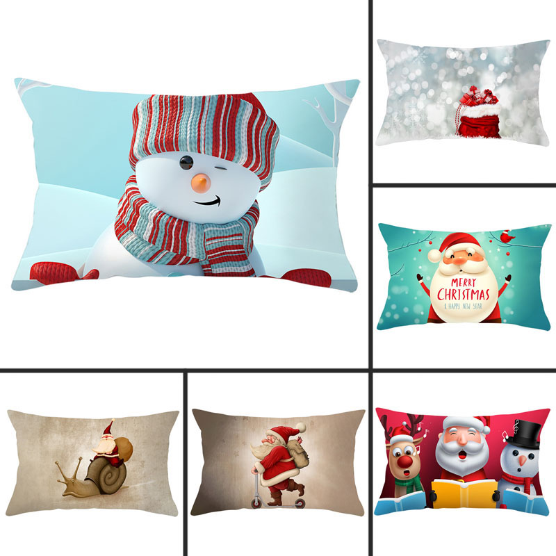 1pcs 30x50cm Christmas Santa Claus Print Pillowcase Polyester Peachskin Pillowcases Waist Pillow Cover Decorative Pillows Cover