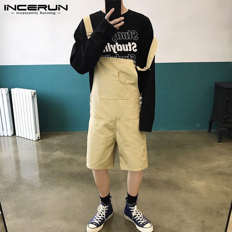 INCERUN Fashion Men Rompers Summer Joggers Pockets Jumpsuit Loose Solid Korean Shorts 2020 Streetwear Mens Bib Overalls Playsuit