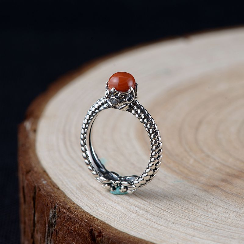 Real Pure Silver 925 Ring Vintage Carnelian Rings For Women Natural Stone Adjustable Fine Jewelry Bijoux Femme