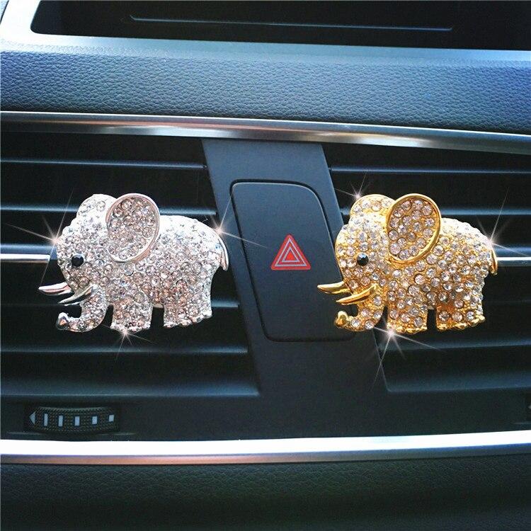Bling Car Accessories Aroma Vent Clip Car Smell Car Perfume Air freshener In Car Ornaments Diamond Elephant Auto Interior Decor