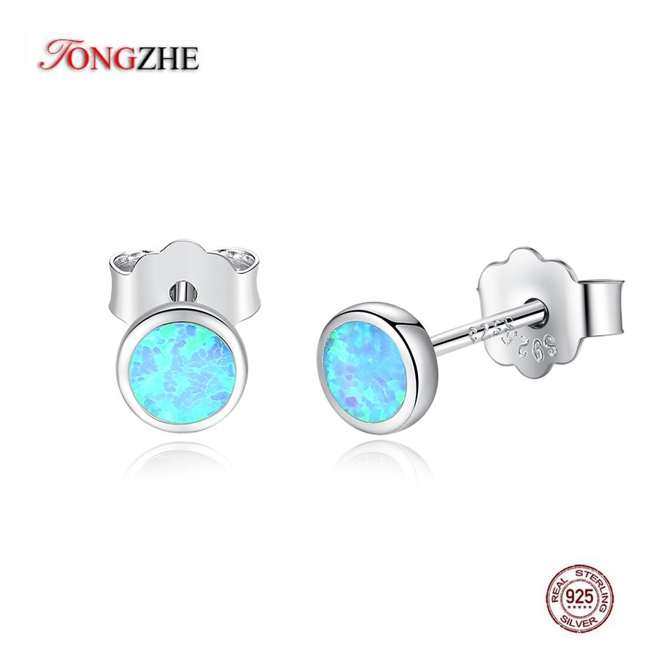 TONGZHE Real 925 Sterling Silver Korean Earrings For Women Blue Opal Small Stud Earrings Fashion Jewelry 2019 Gift For Girl