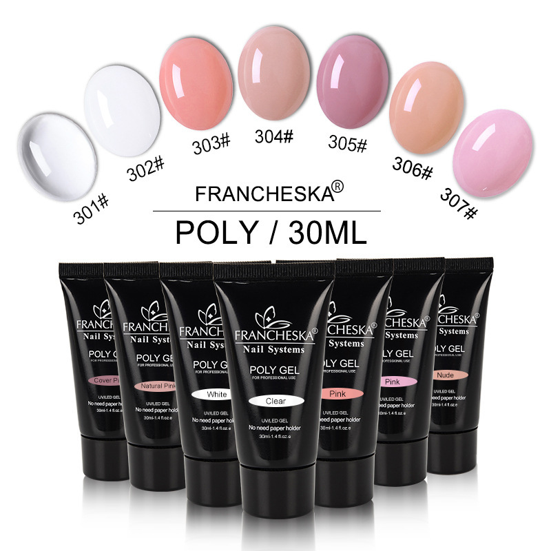Francheska 30ml UV Polygel Kit Quick Building Nail Extension Poly Gel Used with Nail Tips