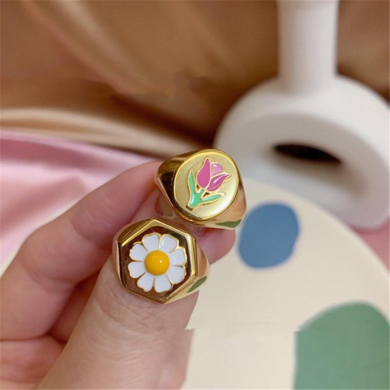 Модное маленькое металлическое кольцо Тюльпан Маргаритка золотистого