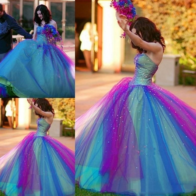 Blue And Purple Quinceanera Gowns Ball Gown Prom Dresses Crystal Beaded Sequins Sweet 16 Dresses Sweetheart vestidos de quincean 2