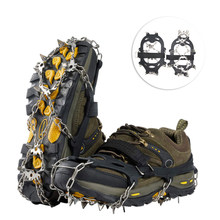 Crampons Traction Cleats 19 Spikes Stainless Steel Anti-Slip Grips Ice Snow Shoes Boots Walking Climbing Fishing Hiking Winter