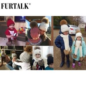 Image 5 - FURTALK Kids Leeftijden 1 10 Winter Baby Echt Bont Pompom Hoed Sjaal Set Knit Beanie Hoeden en Sjaals voor kind