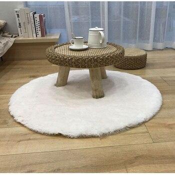 Alfombra de piel sintética suave, alfombra redonda sólida para el suelo, almohadilla para el pie, funda para silla, peluda alfombrilla para el dormitorio, sala de estar, asiento, alfombra