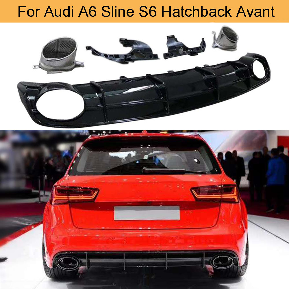 Gloss Black Car Rear Diffuser Lip Spoiler for Audi A6 Sline S6 Hatchback Avant Touring 2015-2018 Not RS6 Rear Bumper Diffuser image