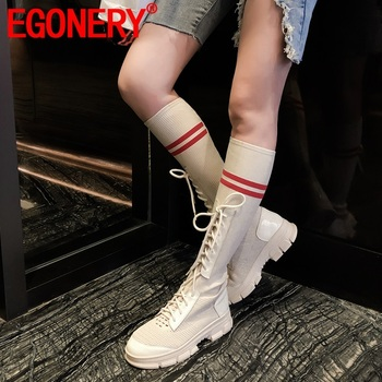 EGONERY winter new fashion knee high boots outside warm mid heels platform round toe genuine leather women shoes drop shipping