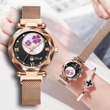 Reloj de lujo con cristales para mujer, reloj de pulsera femenino de cuarzo con diamantes de imitación, resistente al agua, 2019