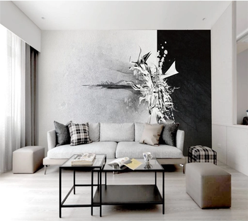 Customized 8d wallpaper 3d photo wall fashion style Nordic black and white abstract pattern TV background