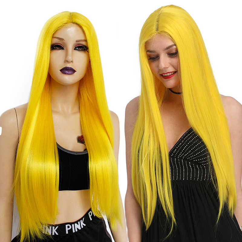 Ebingoo negro naranja rosa púrpura amarillo peluca larga recta futuro sintético encaje pelucas delanteras para mujeres Peruca parte media 26 pulgadas