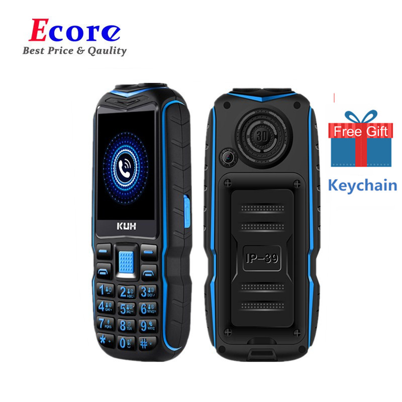 KUH GSM New Electric-Torch Power-Bank Cellphones Dual-Sim-Camera Shockproof Elders Big title=