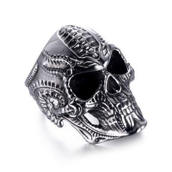 Secreto Niño Accesorios Punk mecánico cráneo de los anillos de los hombres línea de joyería de anillo con grabado de motocicleta único regalo de Navidad