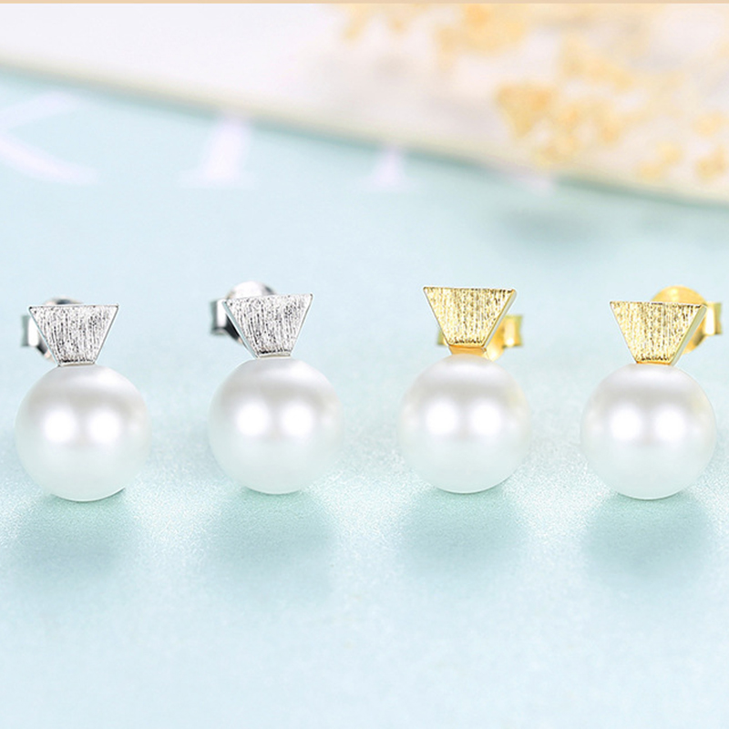 AGLOVER Hot Sale 925 Sterling Silver Earrings Natural Freshwater Pearl Earrings Women Fashion Jewelry Christmas Lady Gift
