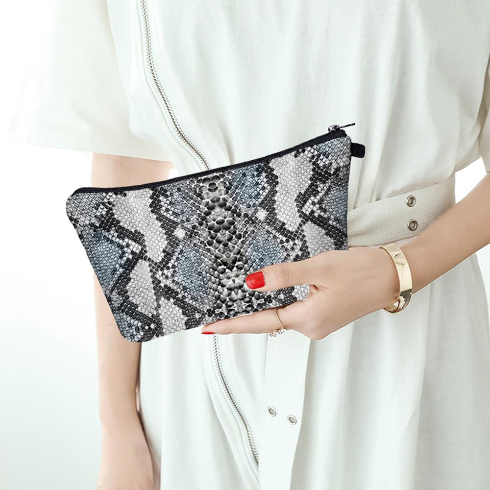 3D Digita Snake Print Wristlet Clutch Women Daily Makeup Bags Waterproof Makeup Storage Bags Phone Pouch Money Phone Pouch Casu