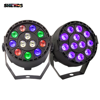 2pcsMini Led Flat Par 12x3W RGBW 4 Color Stage Wash Lighting For DJ Party Club Disco 8 channels DMX 512  Master/Save Stage Light 12pcs illusion plastic par light rgbw 4in1 disco wash light equipment 8 channels dmx 512 led effect stage dj party lighting