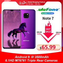 Ulefone Note 7 Smartphone 6.1 Inch 1Gb Ram 16Gb Rom MT6580A Quad Core 3500Mah Gezicht Id Drie achter Camera Android 9 Mobiele Telefoon