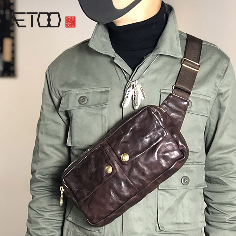 AETOO Vintage personality one-shoulder sloping bag, men's chest bag, leather large-capacity casual leather one-shoulder bag