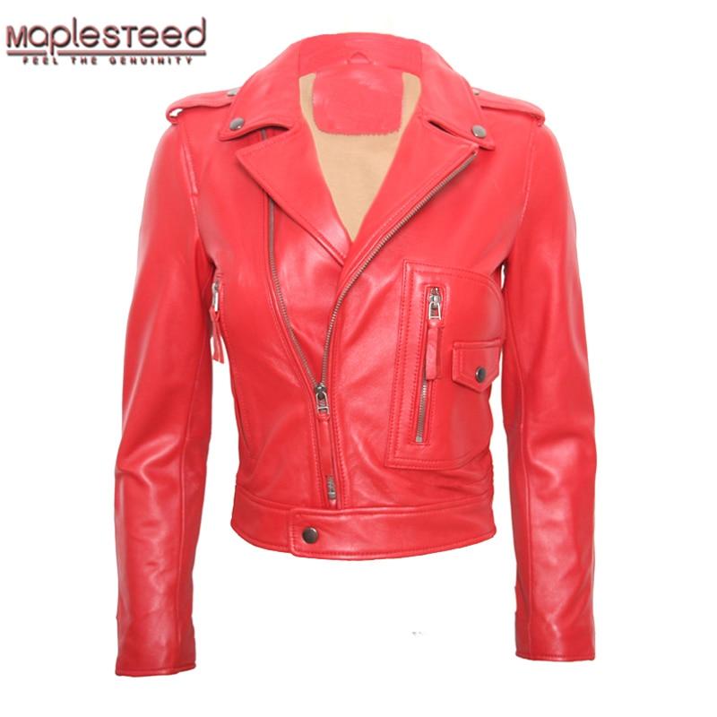MAPLESTEED Womens Leather Jacket Sheepskin Jacket Lambskin Red Black Female Genuine Leather Overcoat Ladies Biker Clothing M117