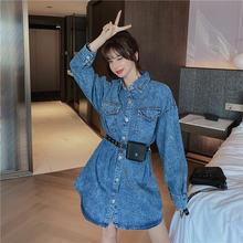 Fashion autumn new style lapel double pocket waist denim dress