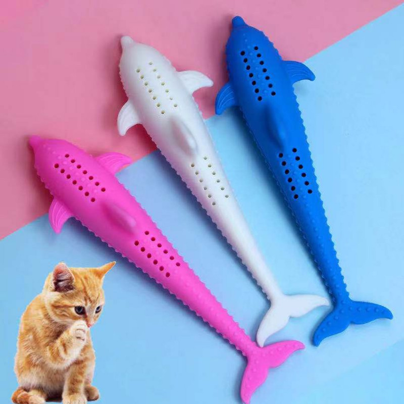 Fish Pet Kitten Chewing Toy Cat Teeth Grinding Catnip Toys Cat Toothbrush Simulation Silicone Molar Stick Teeth Cleaning Toy image