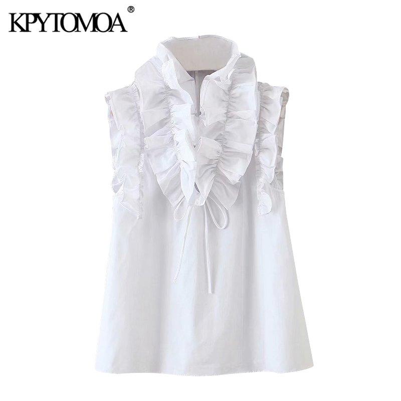 KPYTOMOA Women 2020 Sweet Fashion Ruffled White Blouses Vintage High Neck Sleeveless Female Shirts Blusas Chic Tops