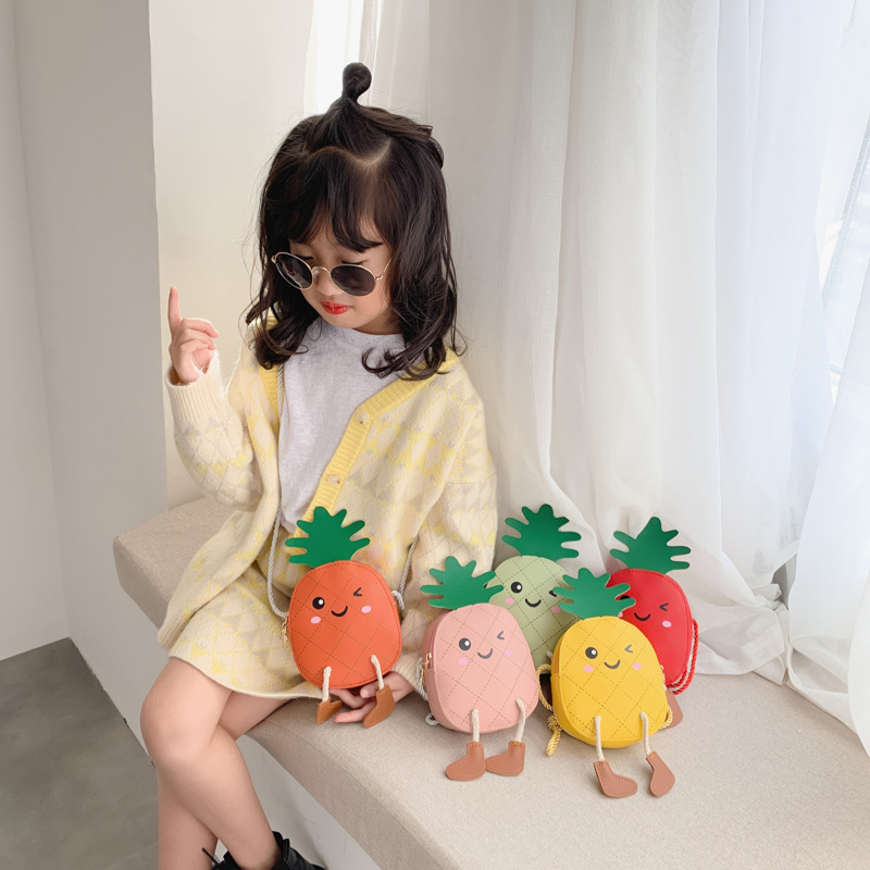 2020 Cute Baby Mini Coin Purse Kids Girl Cartoon Pineapple Small Zero Wallet Bag Kawaii Toddler Money Change Purses Gift