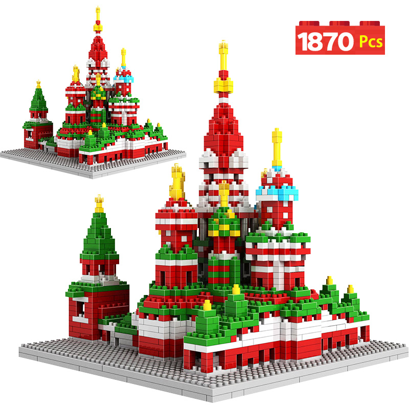 1870Pcs 3D Church Model Mini Diamond Famous Architecture Saint Basil's Cathedral Building Blocks Bricks Christmas Toys for Kids