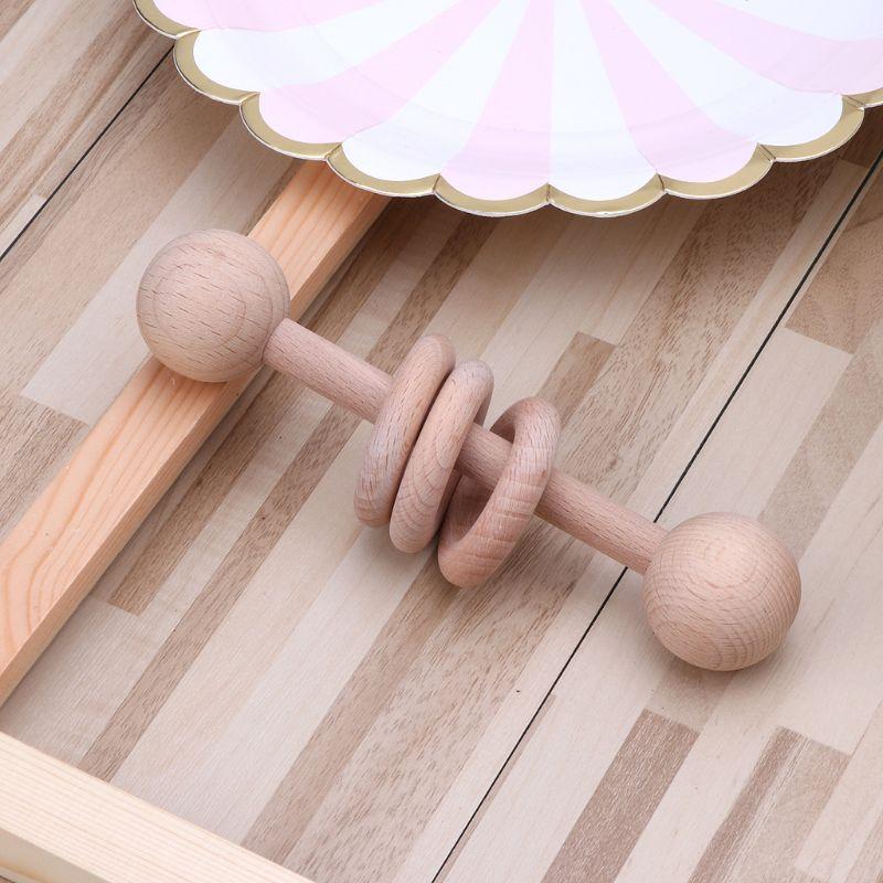 Anneau de dentition en bois de qualité alimentaire bébé hochets Montessori jouets cadeau de douche nouveau-né anneau de dentition GXMB