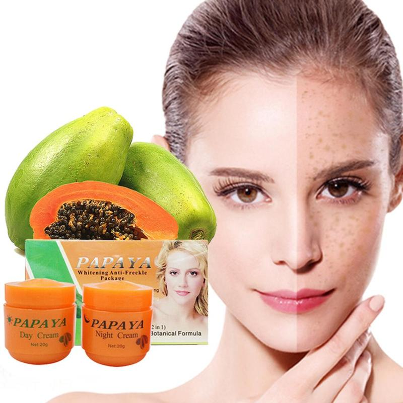 2 Pcs Papaya Face Cream Vitamina C Night/day Cream Anti Freckle Decompose Remove Melanin Dilute Moisturizing Brighten Cream New
