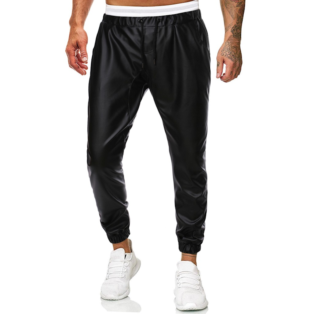 Men Casual Simple Handsome Solid Leather Pants Trousers Pantalones Hombre Streetwear Joggers Hip Hop Pantalon Homme Sweatpants