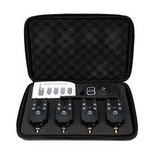 Lixada conjunto de alarmas LED inalámbricas para mordedura de pesca, Kit de alarma de pesca, indicador de alerta, receptor de campana, aparejos de pesca con caja con cremallera