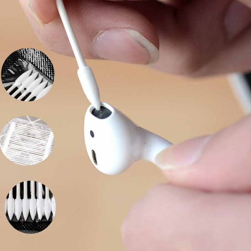 For Apple Airpods Airpod Case 25x Cotton Disposable Stick Cleaning Tool For AirPods Earphone Charge Port Earphone Accessories
