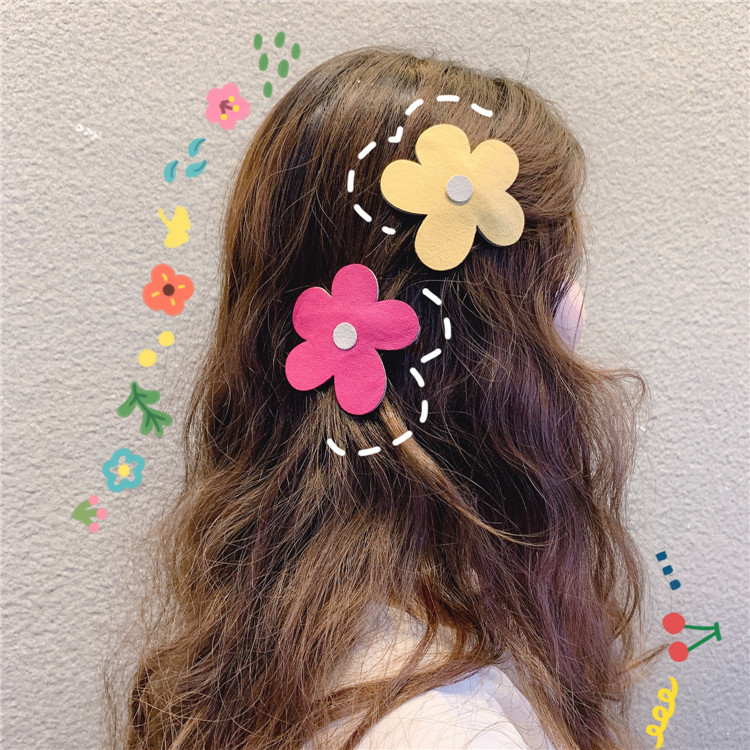 Korea's New Ins Girl's Simple Big Flower Children's Hair Clip Side Clip Bb Clip Cute Colorful Sweet Hair Clips