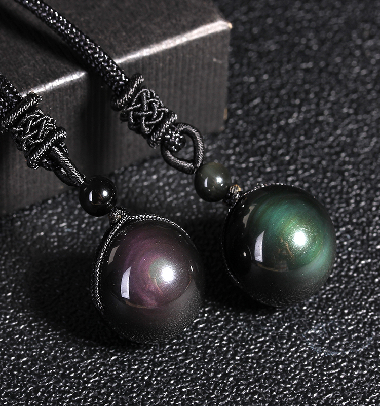 Pendant Jewelry Necklace Stone Rainbow-Eye-Beads-Ball Obsidian Black Women for Transfer title=