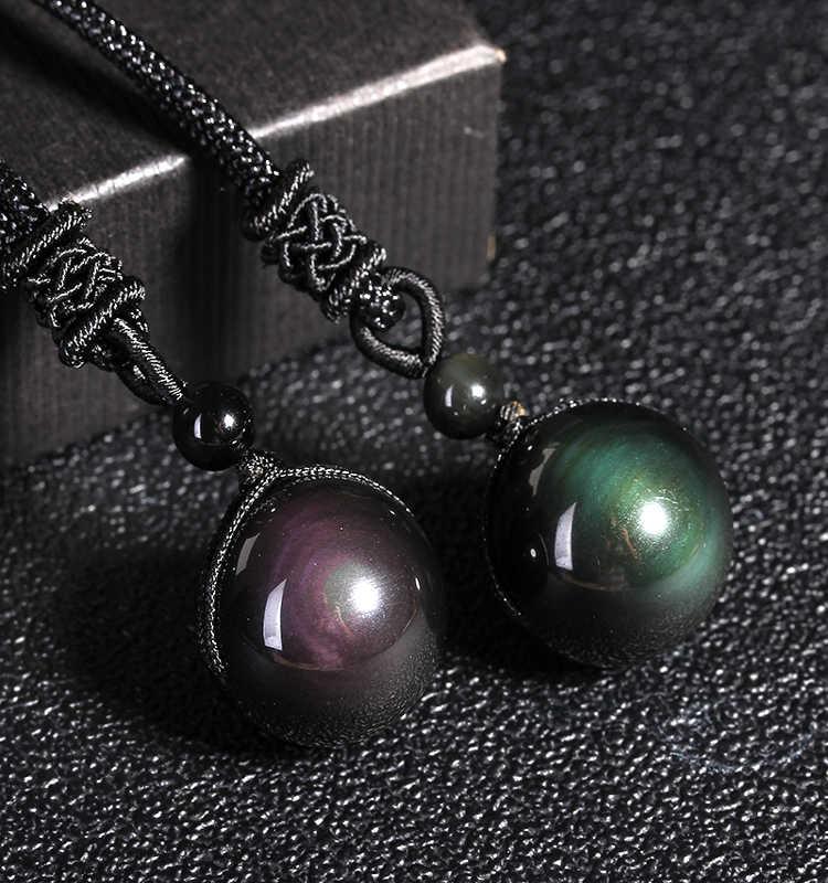 Preto obsidian arco-íris contas de olho bola jóias de pedra colar pingente para as mulheres transferência lucky love fine jewelry