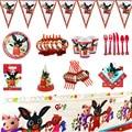 Кролика тематическая вечеринка на день рождения с блестками; Большие размеры скатерть Бумага чашки салфетки пластины для дня рождения детс...