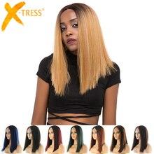 Короткий Боб синтетические волосы на кружеве парики Омбре черный блонд красный цвет X-TRESS яки прямые средняя часть тупой парик шнурка для женщин