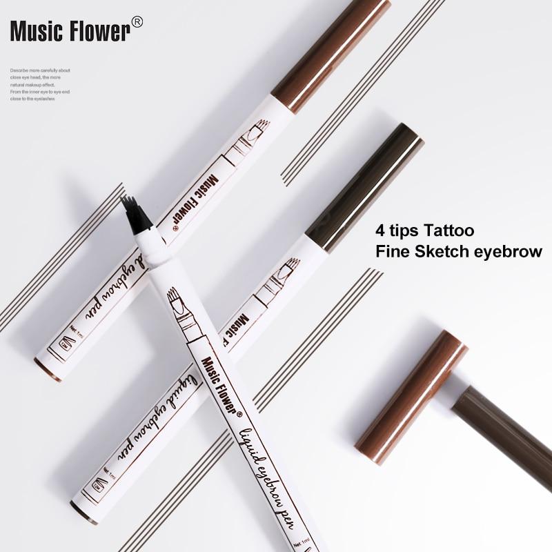 Original Music Flower 4 Pointed Waterproof Liquid Eyebrow Pen Longlasting Fine Sketch Eyebrow Tattoo Super Durable Dropshipping