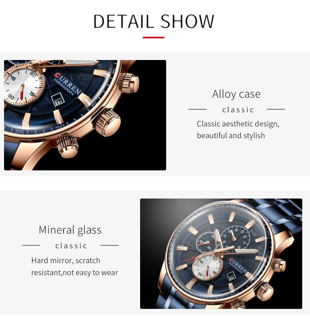 Hc20167df13b94b7d9770cf789467c4f4S Men's Watches CURREN Top Luxury Brand Fashion Quartz Men Watch Waterproof Chronograph Business Wristwatch Relogio Masculino