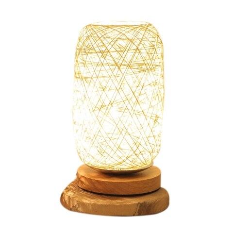 usb levou candeeiros de mesa regulavel lampada bola rattan decoracao da casa de madeira de
