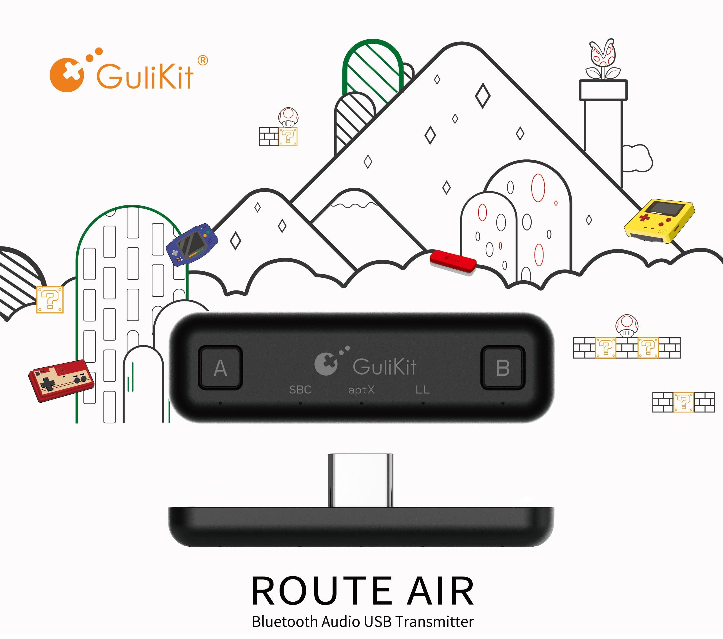 Gulikit ns07 rota ar bluetooth transmissor de áudio sem fio usb tipo c adaptador transceptor para nintendo switch/switch lite/ps4