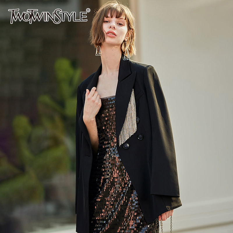 TWOTWINSTYLE Casual Patchwork Diamond Tassel Brazer For Female Notched Long Sleeve Asymmetrical Suits Women Fashion 2020 Clothes