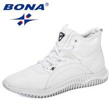 BONA 2019 신사복 레이스 업 하이 탑 아웃 도어 맨 패션 스니커즈 가을/겨울 플랫 슈즈 Zapatillas Hombre Man Footwear
