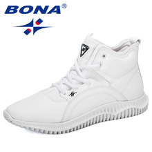 BONA 2019 חדש מעצבי שרוכים גבוה למעלה חיצוני איש אופנה סניקרס סתיו/חורף דירות נעלי Zapatillas Hombre איש הנעלה
