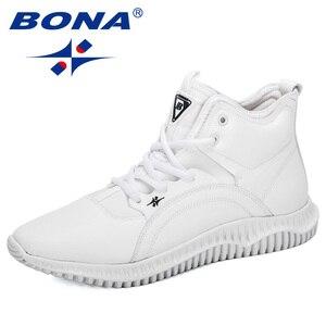 Image 1 - Мужские кроссовки на шнуровке BONA, черные уличные кроссовки с высоким берцем, на плоской подошве, Осень зима 2019