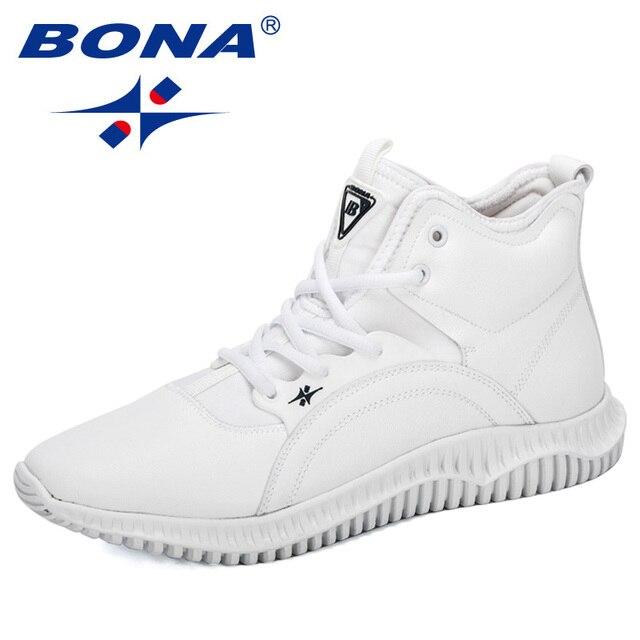 Мужские кроссовки на шнуровке BONA, черные уличные кроссовки с высоким берцем, на плоской подошве, Осень зима 2019